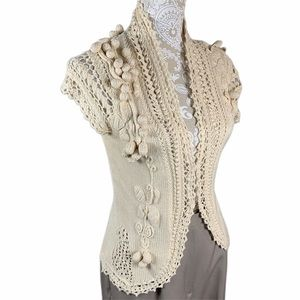 Moth Anthropologie vest crocheted grapes & lace